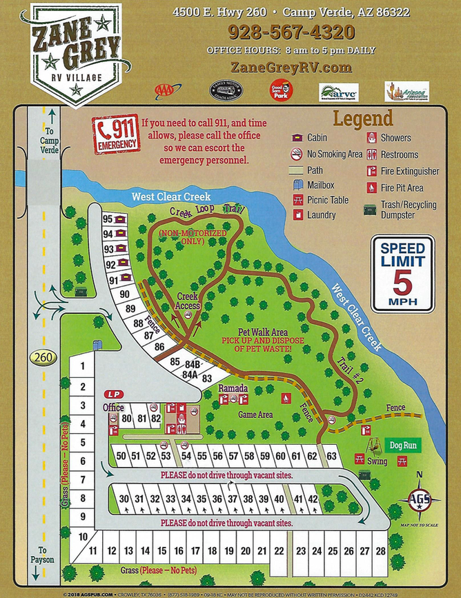 RV park site map and park rules